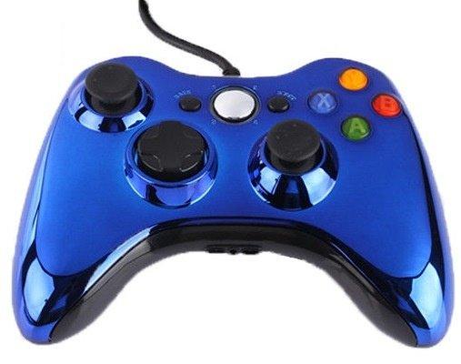 Джойстик (геймпад) проводной для Xbox 360 и PC Синий Хром