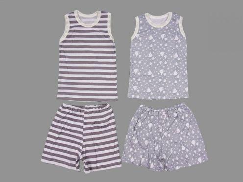 Комплект: майка, шорты /полоска, капельки / супрем 100% хб