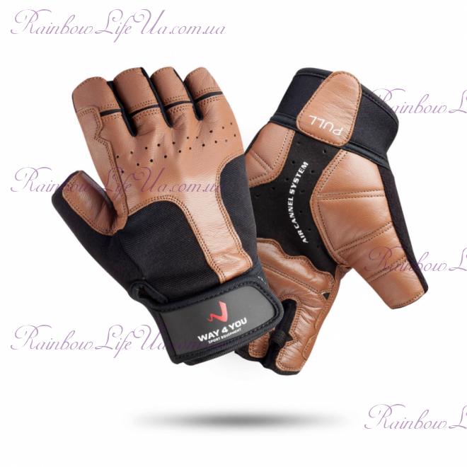 """Перчатки для тяжелой атлетики и фитнеса c напульсником мужские """"Way4you"""""""