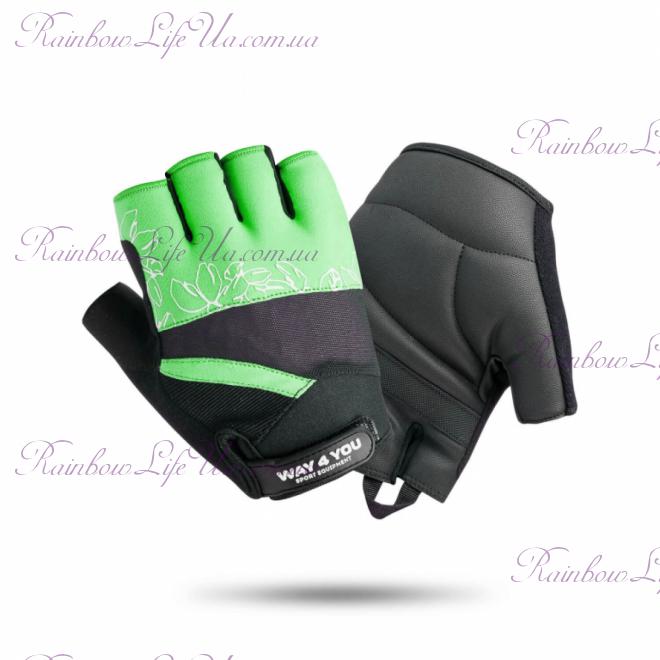 """Перчатки для фитнеса Green женские """"Way4you"""""""