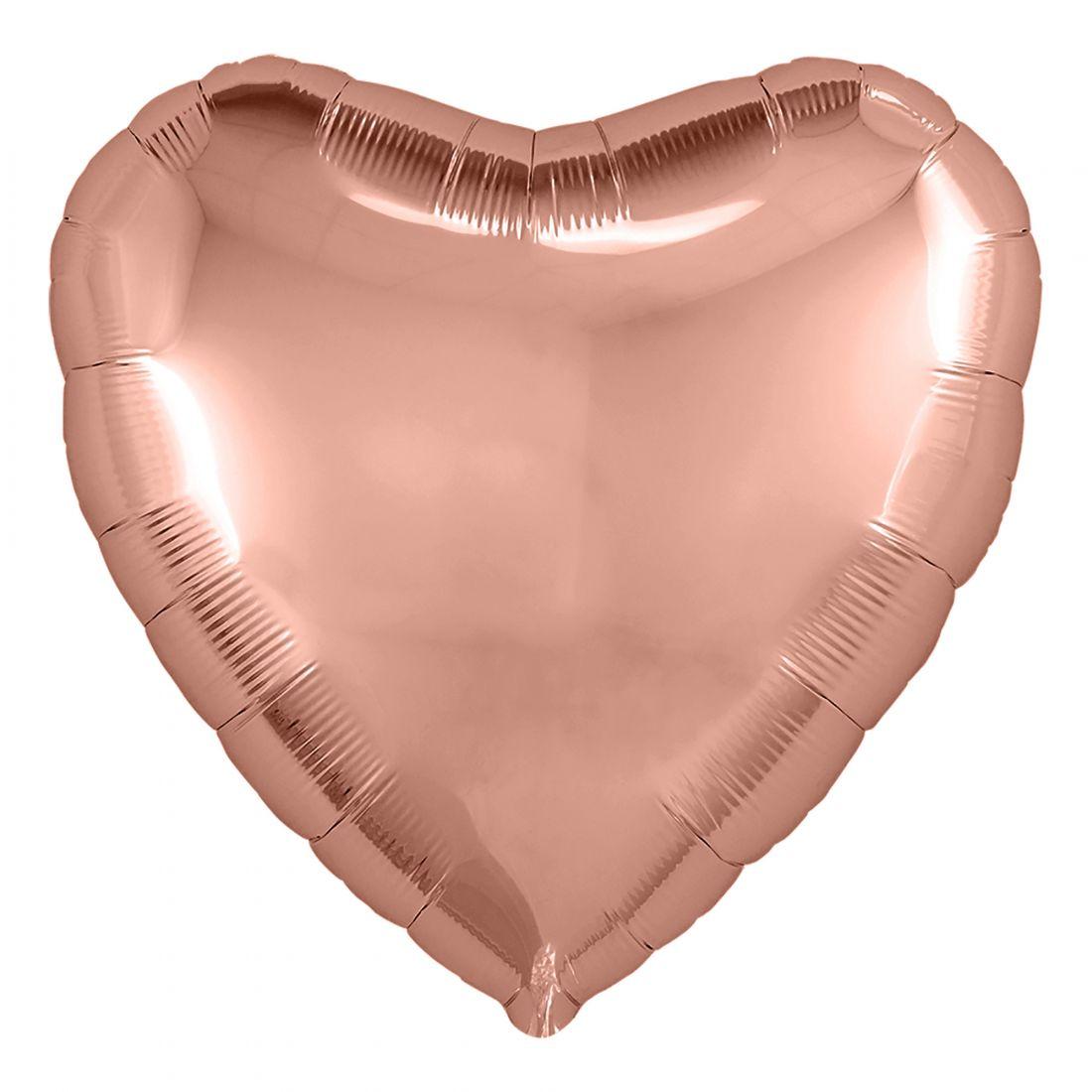 Шар сердце розовое золото большой фольгированный с гелием