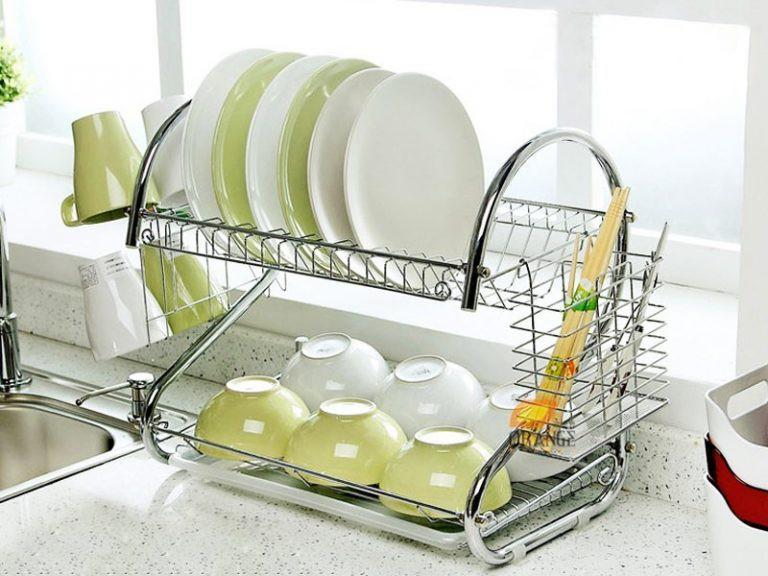 Двухъярусная сушилка для посуды с поддоном