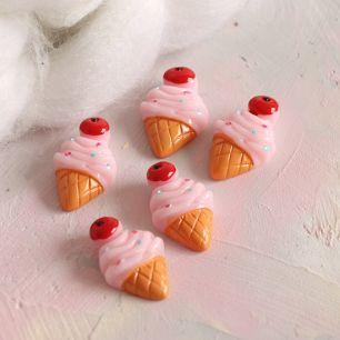 Кукольная миниатюра - Кабошон розовые мороженки, 2.5 см