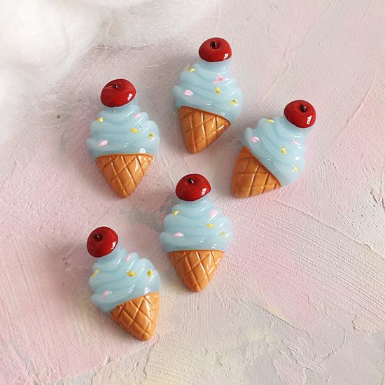 Кукольная миниатюра - Кабошон мятное мороженое, 2.5 см