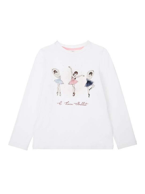 футболка длинный рукав (кроеный трикотаж) для девочек
