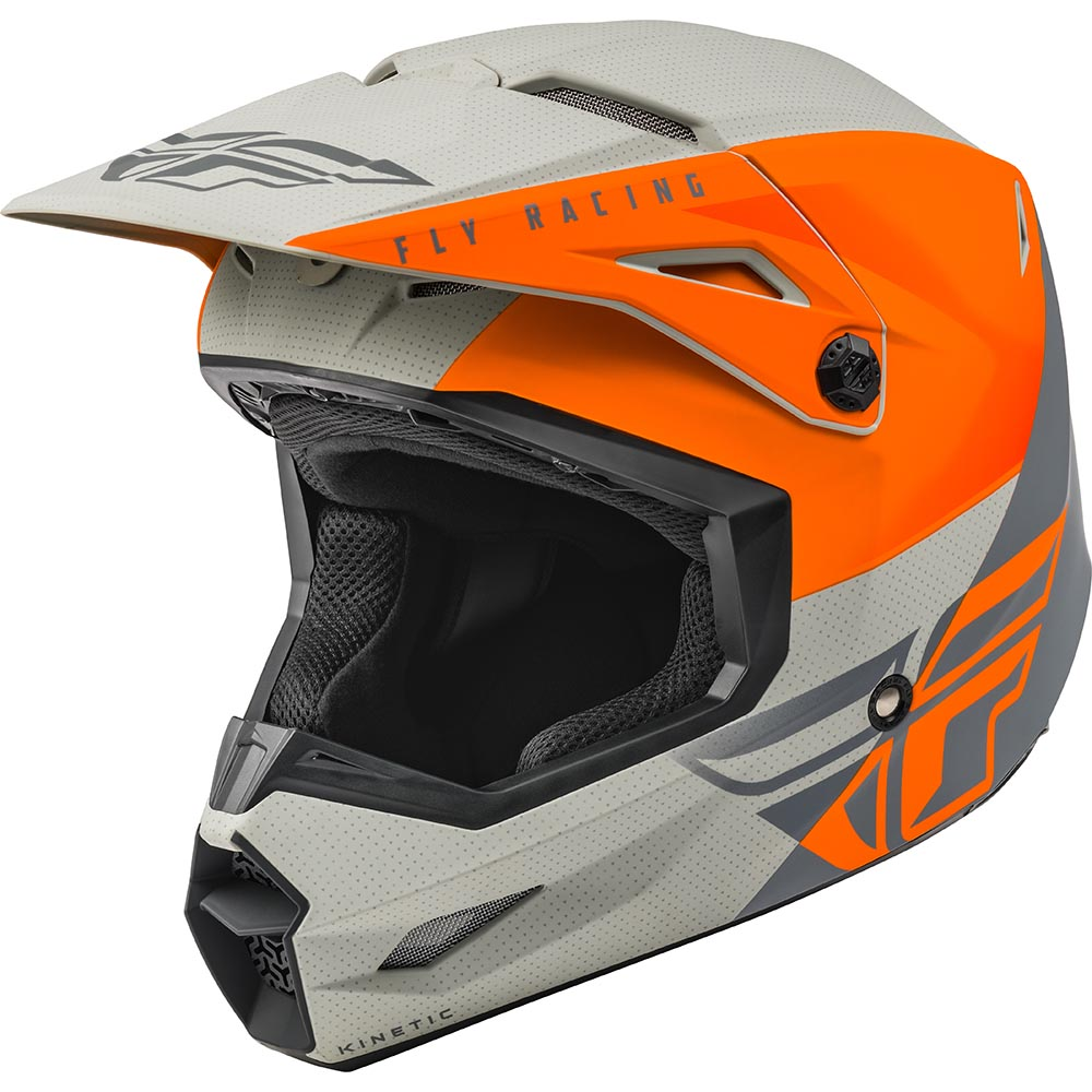 Fly Racing 2021 Kinetic Streigt Edge Matte Orange/Grey шлем внедорожный