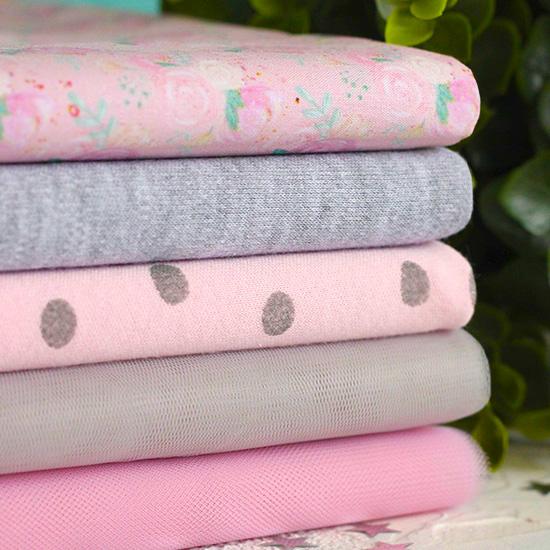 Набор тканей для пошива Серо-розовый