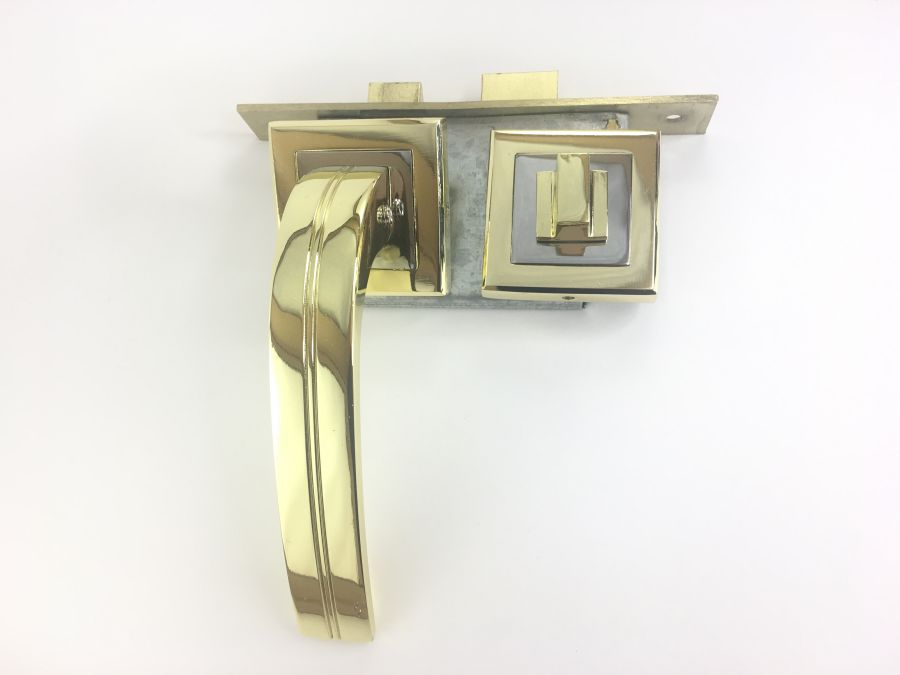 Комплект дверной с заверткой, ручка Kerron 7590, алюминий, золото