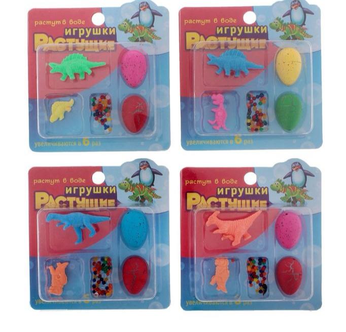 """Растущие животные """"Динозавры"""", набор 2 яйца с динозаврами, 2 динозавра, гидрогель, МИКС"""