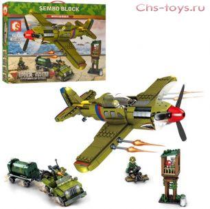 Конструктор SEMBO BLOCK Военный самолет, машина, вышка 101382 649 дет