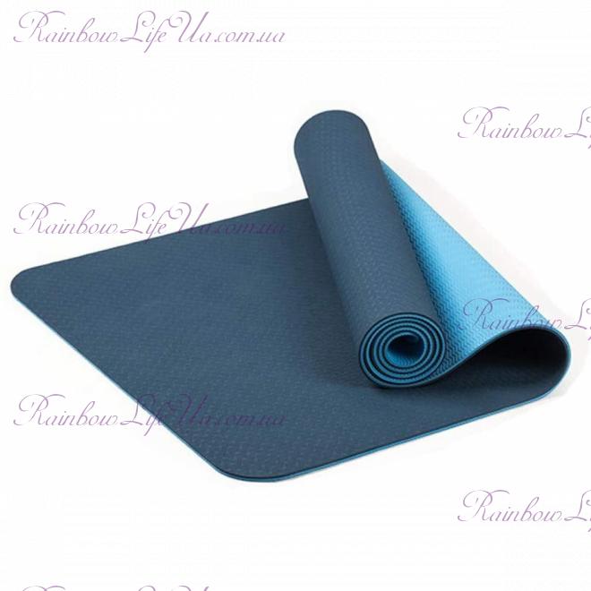 Коврик для фитнеса и йоги 6 мм двухслойный TPE+TC