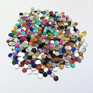 Кабошон круглый, акрил, блестящий, 12 мм, цвет микс (1уп=100шт)