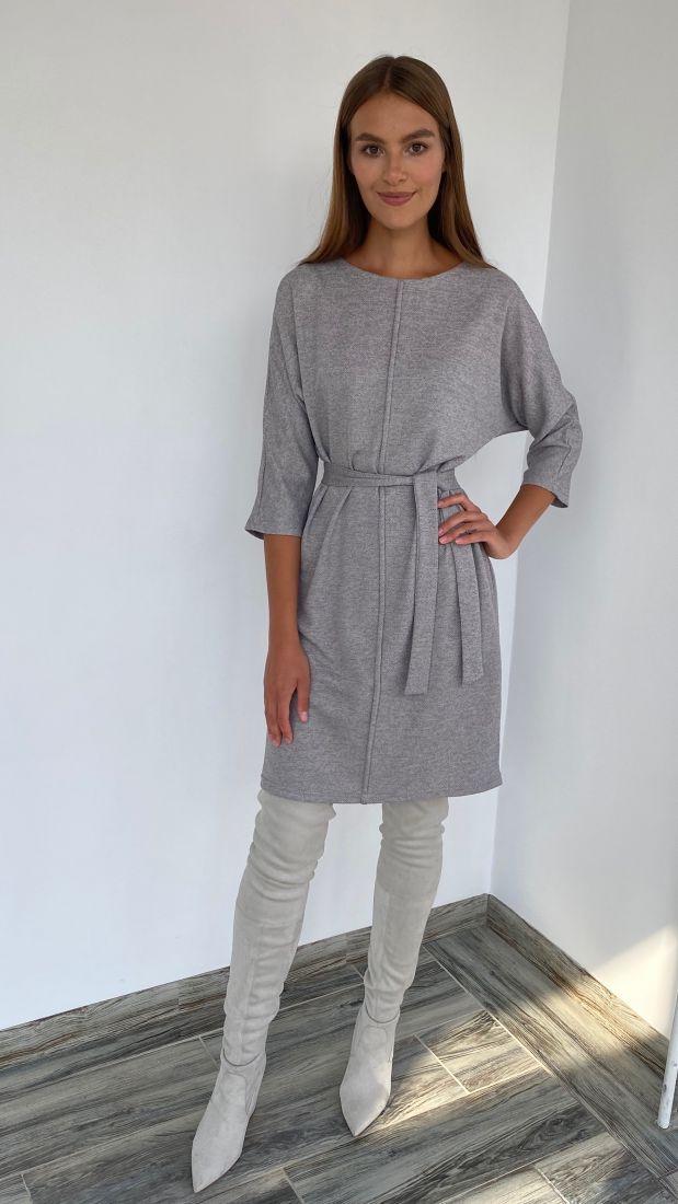 s2255 Платье из трикотажа с планкой серое