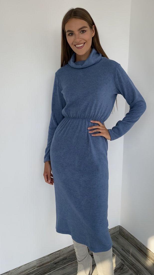 s2250 Платье-свитер из ангоры меланж  в холодном серо-голубом цвете