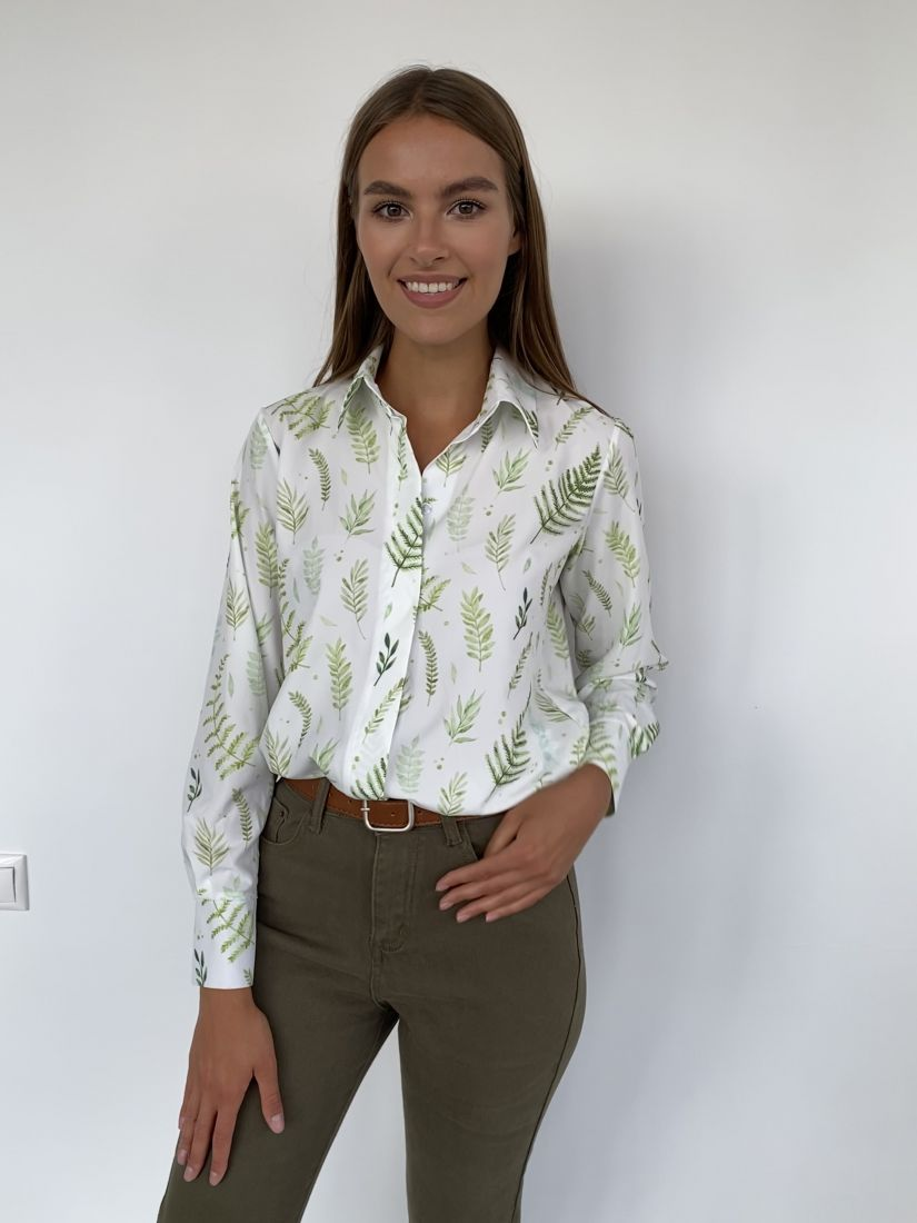 """s2252 Рубашка с супатной застежкой с принтом """"Папоротник"""""""