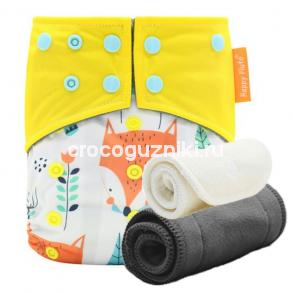 Многоразовый подгузник Happy Flute Бэст 3-15 кг ЛИСЫ