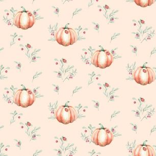 Хлопок Перкаль Тыковки на персиковом  50х37