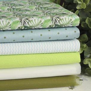 Набор тканей для пошива Зеленые листья