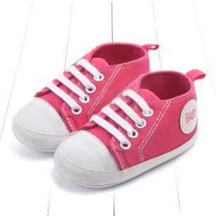 Кеды на шнурках  ярко-розовые 11 см