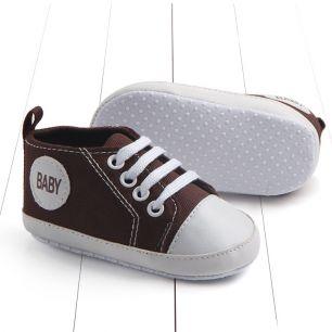 Кеды на шнурках коричневые 11 см