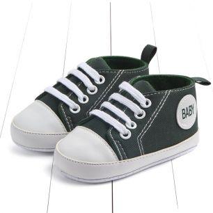 Кеды на шнурках тёмно-зеленые 11 см