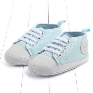 Кеды на шнурках светло-голубые 11 см