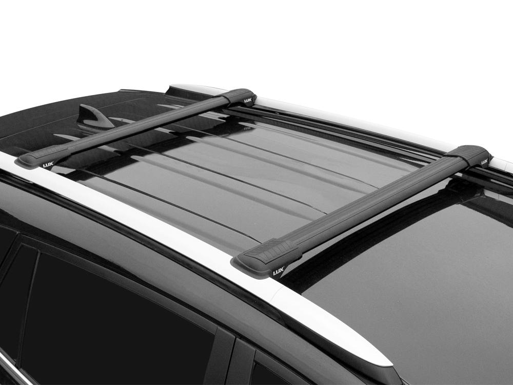 Багажник на рейлинги Suzuki SX4 (2006-13, hatchback), Lux Hunter, черный, крыловидные аэродуги