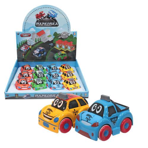 1toy Парковка Мультяшные автомобили, фрикц,машинка, 8см,металл,корпус, 4в в ассорт,, д/б