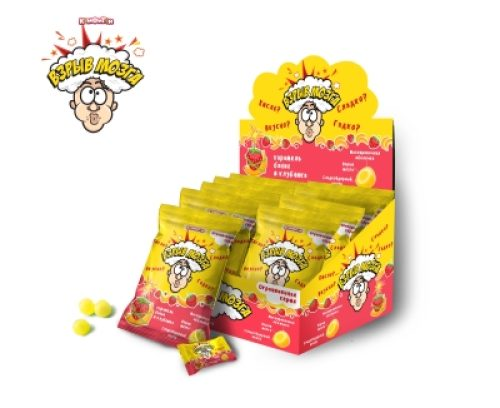 ВЗРЫВ МОЗГА карамель со вкусом банана и клубники в пакете