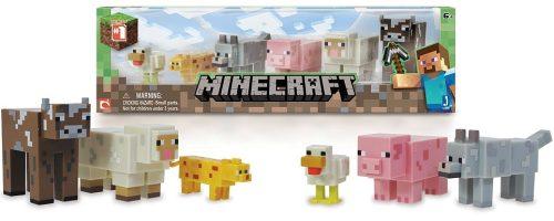 Minecraft игр.наб.фиг. Животные, 6 предметов (подвижн.курица, оцелот, ручной волк, свинья,овца, корова),30,5х8,9х8,9см,дисплей бокс.