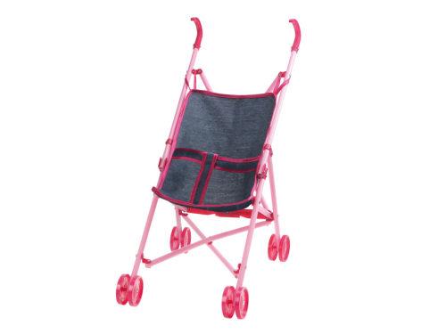 1toy коляска-трость для куклы Красотка-Джинс,пласт.рама,собр.47*25*50см,68*16*8см пакет