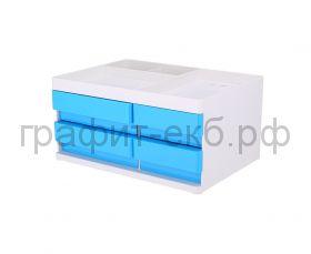 Подставка органайзер Deli Rio 4 выдвижных ящика 131x189x264мм белый/голубой пластик EZ25030