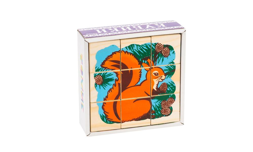 Кубики ТОМИК 4444-4 Животные леса (9 шт)