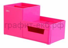 Подставка органайзер Deli Rio 4 отделения 175x90x92мм розовый пластик EZ25140