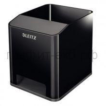 Подставка для ручек и смартфона Leitz WOW с усилением звука черный/серый 5363-00-95