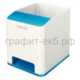 Подставка для ручек и смартфона Leitz WOW с усилением звука синий/белый 5363-10-36