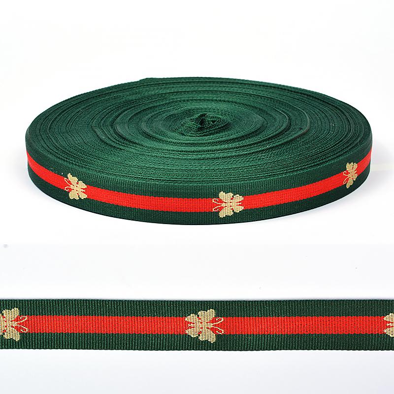 Тесьма декоративная тканая Лампас двусторонняя зеленый/красный TBY.NET09201