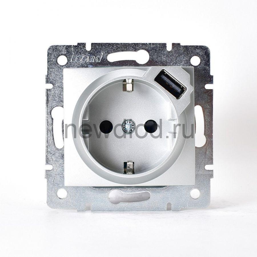 KARINA Розетка с/з + USB разъём матовое серебро (10шт/120шт)