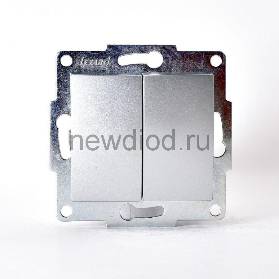 KARINA Выключатель двойной матовое серебро  (10шт/120шт)