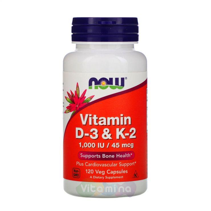 Now Foods Витамины Д-3 и К-2 1000 МЕ, 120 капс