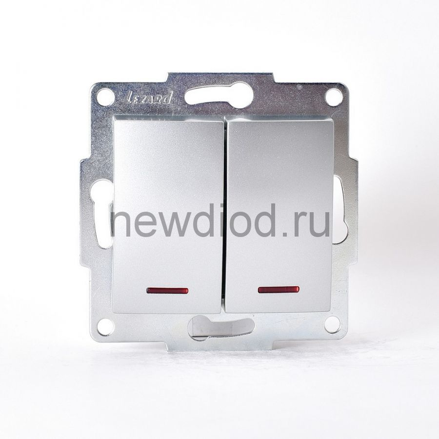 KARINA Выключатель двойной с подсветкой матовое серебро  (10шт/120шт)