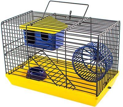 Клетка-мини Дарэлл для грызунов ECO с этажом (комплект: домик миска колесо) 27х15х16см