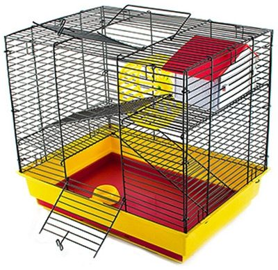 Клетка Дарэлл для грызунов Саша мини 2-х этажная (комплект: домик миска колесо) 41х30х37см