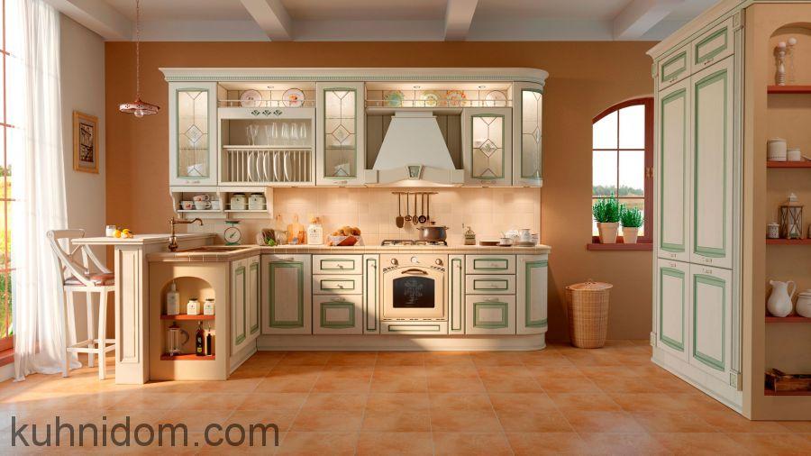 Кухня Искья Зелёная с пеналами