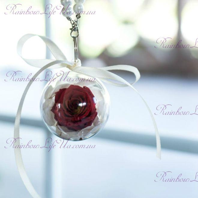 Брелок шар роза + гортензия