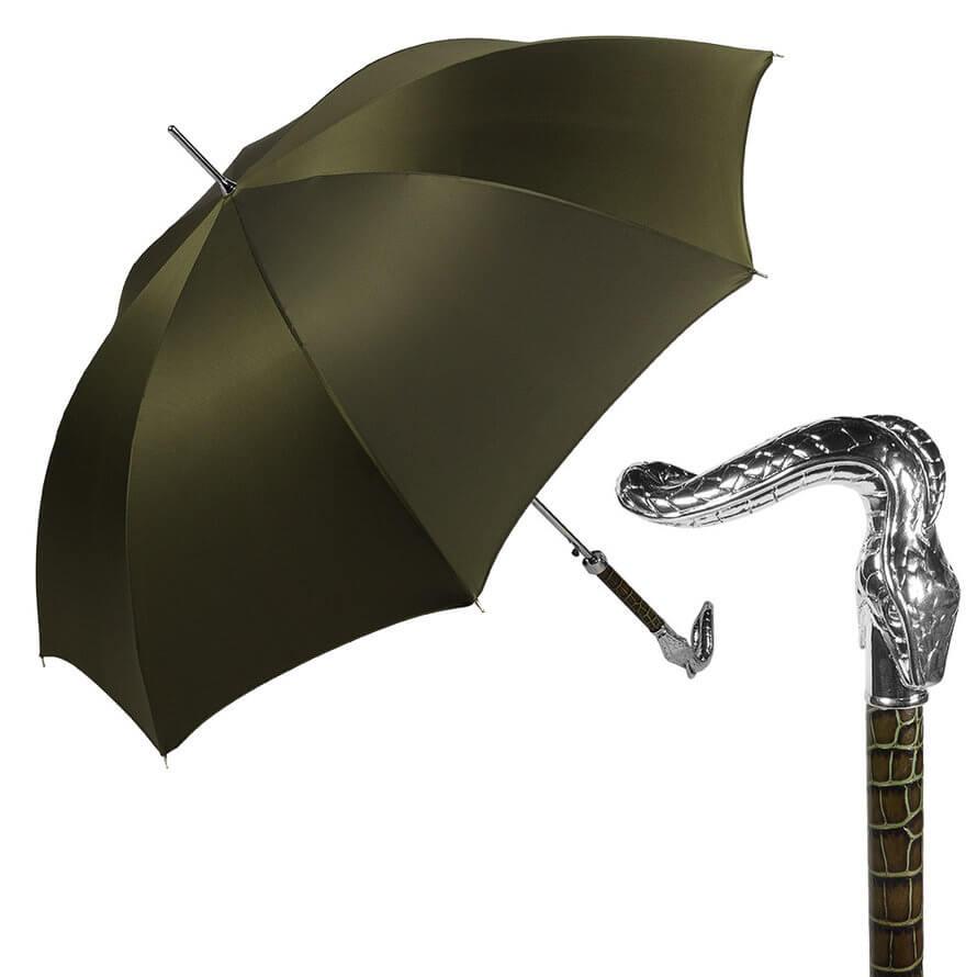 Зонт-трость Pasotti Serpente Pelle Oxford Oliva