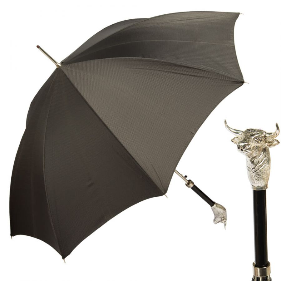 Зонт-трость Pasotti Toro Silver Grid Black