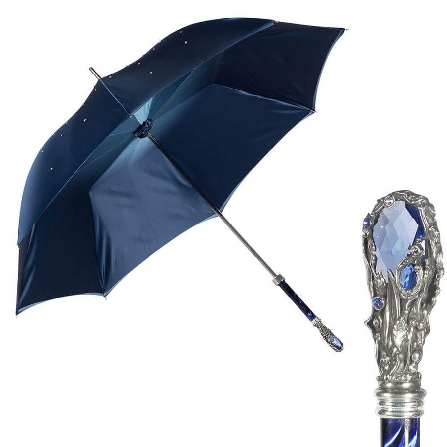 Зонт-трость Pasotti Swarovski Blu Fiore