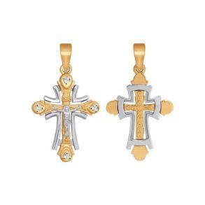 Крест из комбинированного золота с фианитами 121335 SOKOLOV