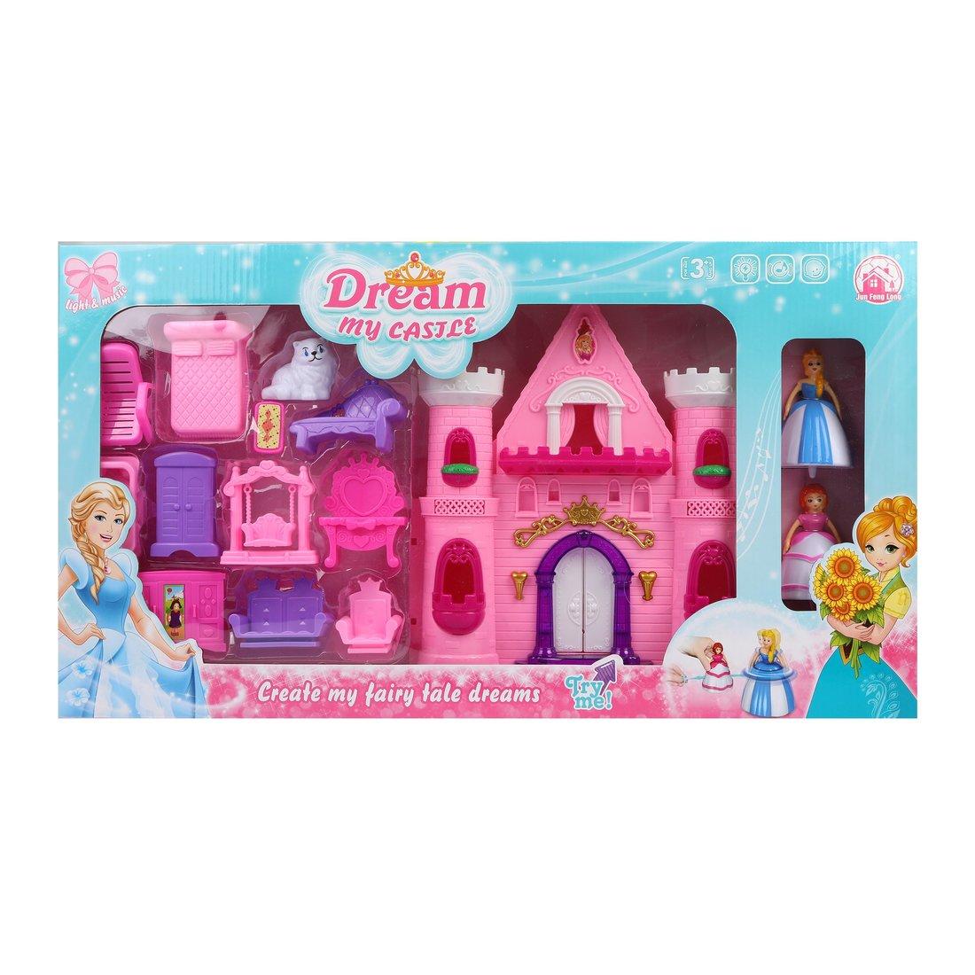 ДЕФЕКТ УПАКОВКИ Замок Моя мечта, 2 куклы в компл., аксесс. 12, свет, звук, батар.AA*2шт. в компл.не вх., в ассорт.,